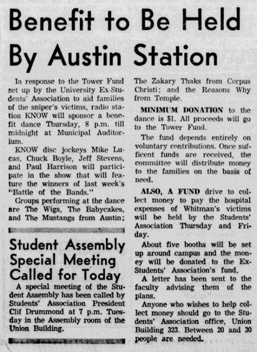Baby Cakes Reasons Why Wig Zakary Thaks Mustangs Tower Fund Benefit, Austin Daily Texan, Aug 16, 1966