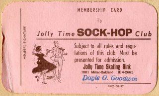 Jolly Time Sock-Hop Club membership card
