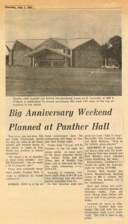Panther Hall Anniversary, July 1, 1965