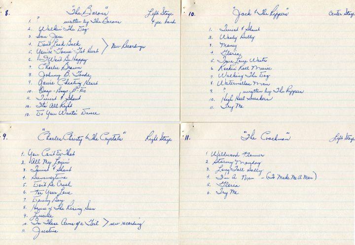 Battle of the Bands Motovators set lists, July 25, 1965