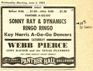 Sonny Ray & the Dynamics, Ringo Ringo, Panther A-Go-Go, Webb Pierce, June 4, 1965