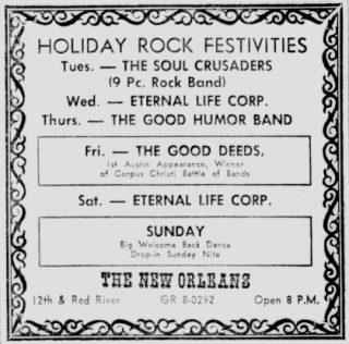 Good Humor Band Eternal Life Corp Good Deeds New OrleansClubAustin Daily Texan July 2, 1968