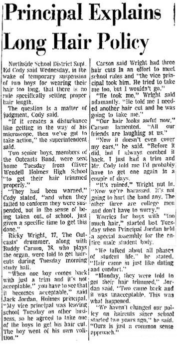 Outcasts Long Hair San Antonio Express Oct 13, 1966