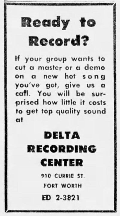 Delta Recording Center Fort Worth Star-Telegram Nov 11, 1966